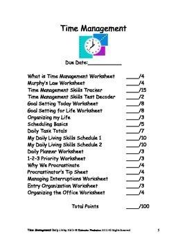 DLS Time Management Workbook-Daily Living Skills