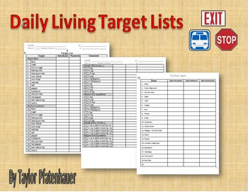 Daily Living Target Lists