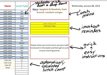 daily lunch count attendance spreadsheet by the happy geek tpt
