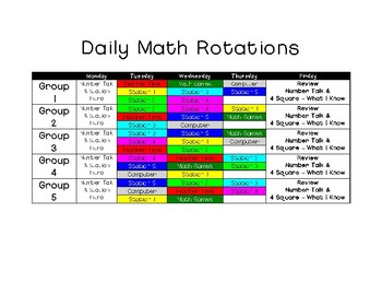 Daily MATH Rotation Schedule!