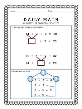 Daily Math  - 1.OA.B.3 & 1.OA.B.4 & Mixed Review