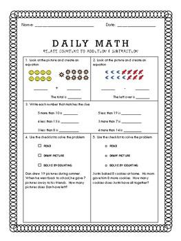 Daily Math  - 1.OA.C.5 & 1.OA.C.6 & Mixed Review