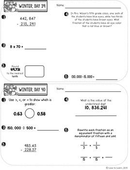 Daily Math 3 (Winter) Fifth Grade