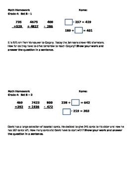 Daily Math 4 Homework Assignments. Set B