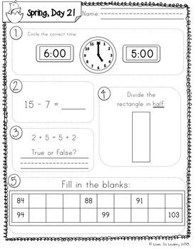 Daily Math 4 (Spring) First Grade