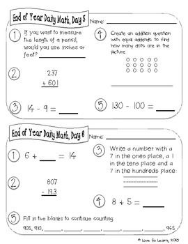 Daily Math 5 (End of Year Review) Second Grade