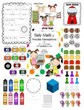 Daily Math Activities & Printable Manipulatives