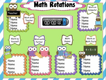 Daily Math Assignments Owl Themed Interactive Rotations for SmartBoard