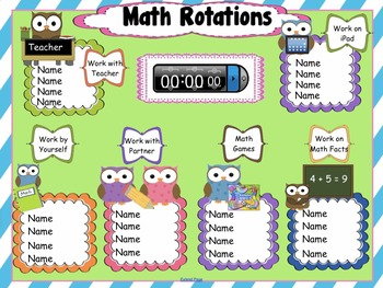 Daily Math Assignments Owl Themed Interactive Rotations fo