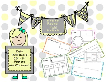 Daily Math Board Posters and Worksheets