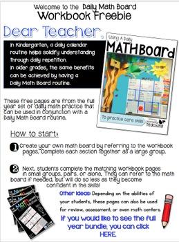 Daily Math Board Workbooks FREEBIE Whimsy Workshop Teaching