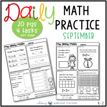 Set 1 September Daily Math Practice And Review Worksheets For First