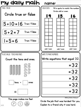 Set 3 November Daily Math Practice and Review Worksheets for First Grade
