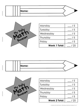 Freebie: 1st Grade Daily Math Booklet