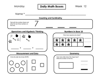 Daily Math Boxes (Qtr. 2 weeks 10-18)