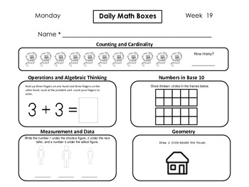 Daily Math Boxes (Qtr. 3 weeks 19-27)