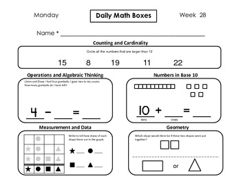 Daily Math Boxes (Qtr. 4 weeks 28-36)