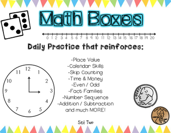 Daily Math Boxes - Reinforces basic skills - Set 2