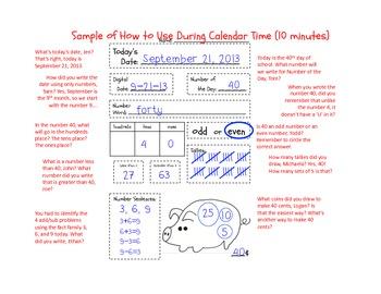 Daily Math Calendar Time Follow-Along