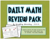 Common Core Math Practice Review & Warm-Up Packet | Home D