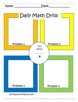 Daily Math Drills Worksheet