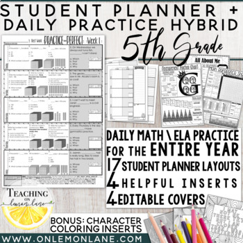 Morning Work / Math Homework & ELA Grammar  ENTIRE Year + Student Planner
