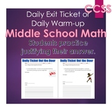Middle School Daily Math Exit Slip/Warm-Up: Add and Subtract Rational Numbers