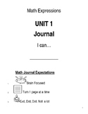 Daily Math Expressions Journal Booklet for kindergarten Unit 1