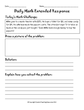 Daily Math Extended Response Packet 2