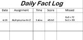 Daily Math Fact Log