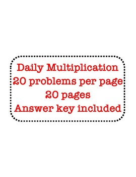 Daily Math Facts - Multiplication by 5, 12, 15, and 25 - 20 days x 20 Problems