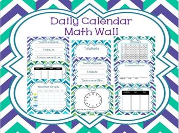 Daily Math Focus Calendar Wall Teal Purple