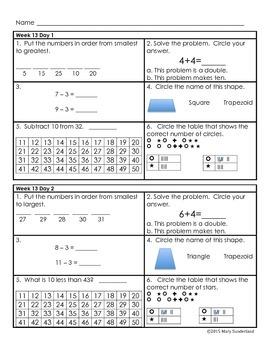 Daily Math Practice - Grade 1 - Part 2