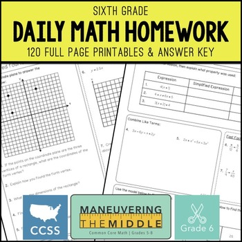 6th Grade Math Homework - Common Core by Maneuvering the Middle | TpT