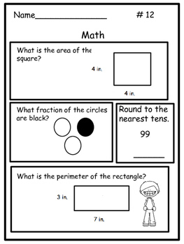 Daily Math Homework for 3rd Grade: Common Core Spiral Review