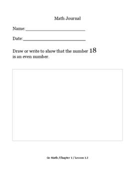 Daily Math Journal Go Math Chapter 1