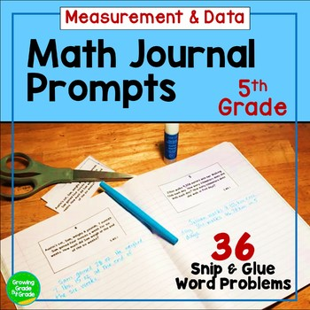 Daily Math Journal Prompts 5.MD Snip-and-Glue
