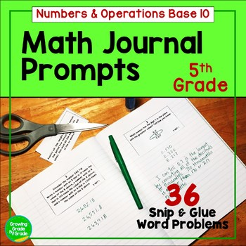 Daily Math Journal Prompts 5.NBT Snip-and-Glue