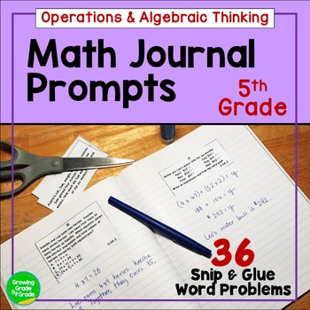 Daily Math Journal Prompts 5.OA Snip-and-Glue