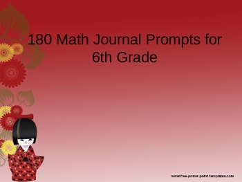 6th Grade Daily Math Journal Prompts