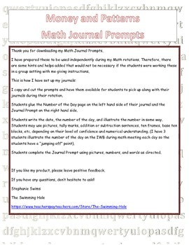 Daily Math Journal Prompts for Money and Patterns