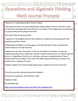 Daily Math Journal Prompts for Operations and Algebraic Thinking