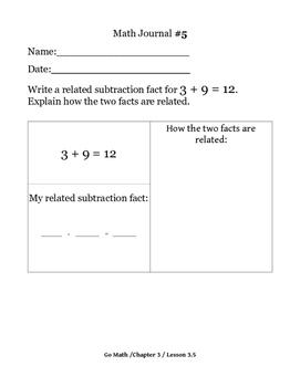 Daily Math Journal for Second Grade Go Math Chapter 3