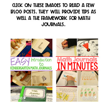 Kindergarten Math Journal Prompts   FREE GETTING STARTED