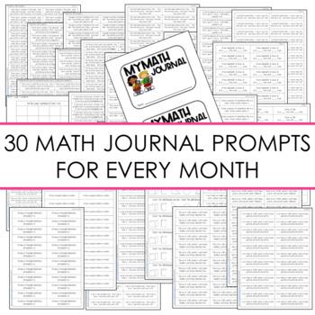 Kindergarten Math Journal Prompts   The BUNDLE