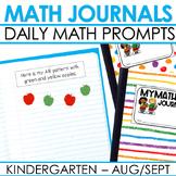 Kindergarten Math Journal Prompts | AUG/SEPT