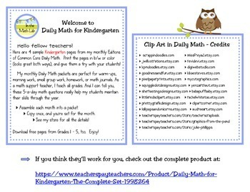 Daily Math - Kindergarten Sample Pages