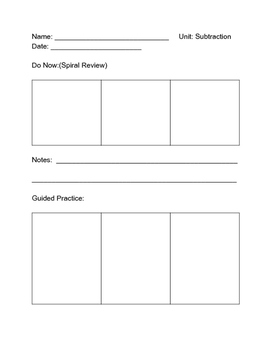 Daily Math Lesson Template for Students