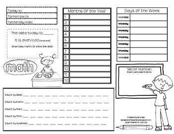 Daily Math Meeting (Calendar) Recording Forms