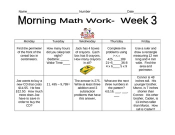 Daily Math Morning Work Bundle